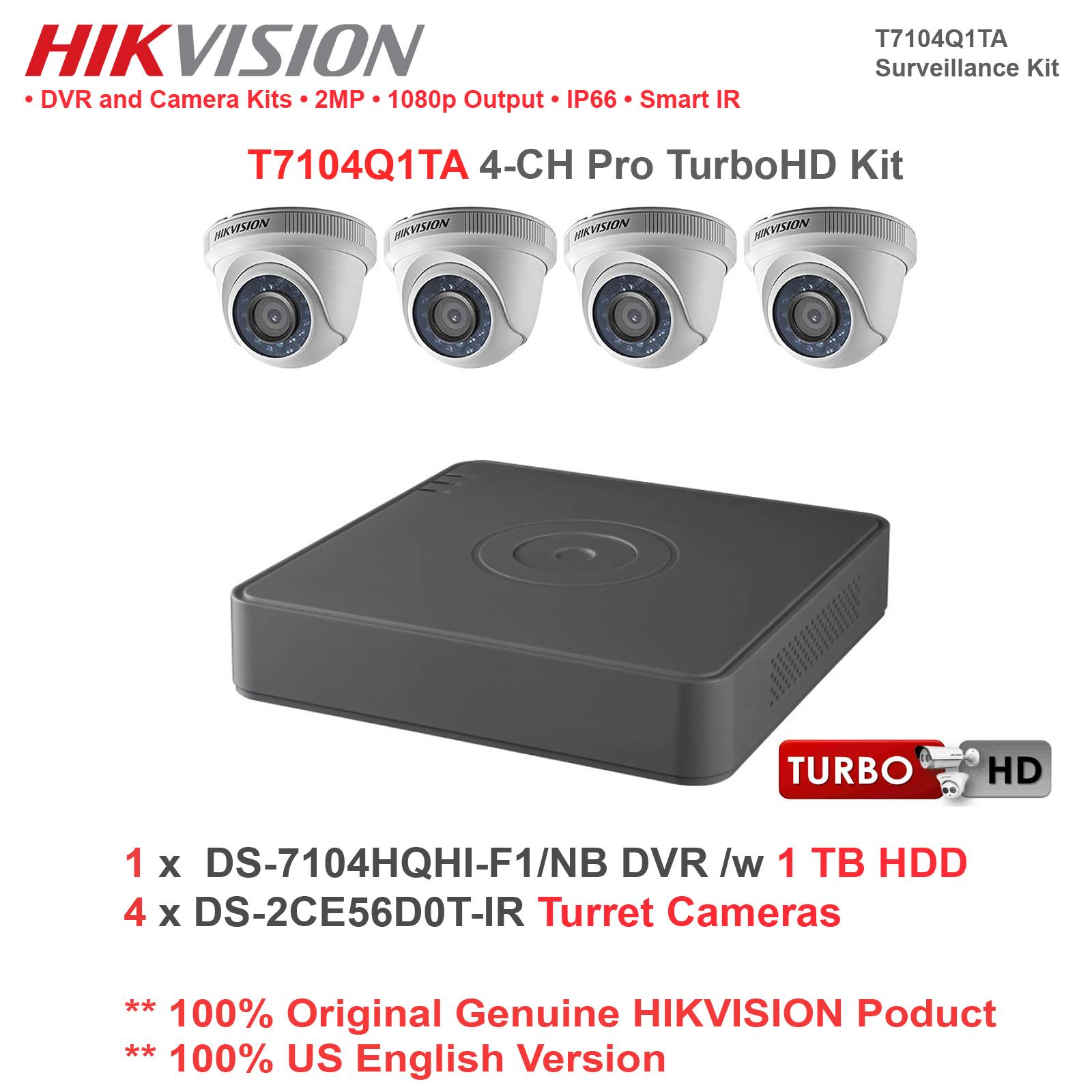 NEW!! Hikvsion T7104Q1TA 4CH Pro TurboHD Kit //w 1TB HDD//4 Turret Cameras//1 DVR