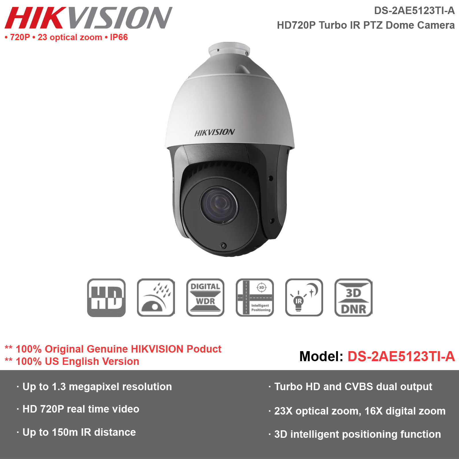 Details about Hikvision-US Outdoor HD720P Turbo-TVI IR PTZ  Dome/DS-2AE5123TI-A