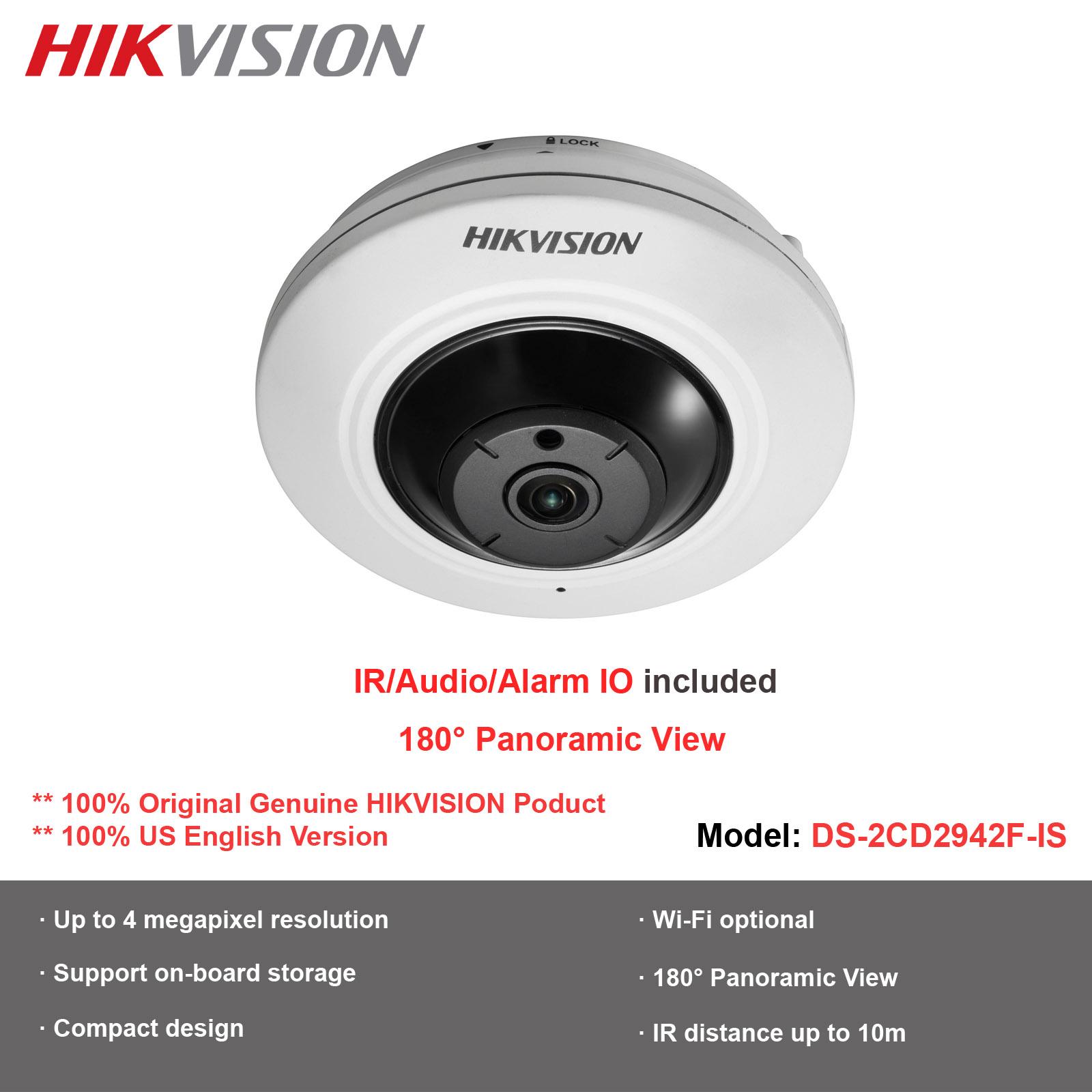 Hikvision OEM 4MP Fisheye 180 Degree 1.6mm Lens PoE Day//Night WDR DS-2CD2942F-I