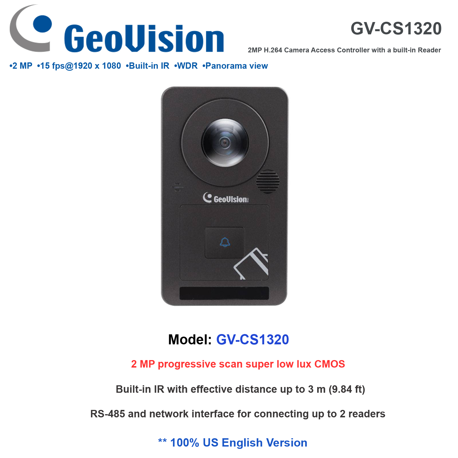 Details about Geovision GV-CS1320 2MP H 265 1080P 180˚ Panoramic IP Camera  Reader Controller